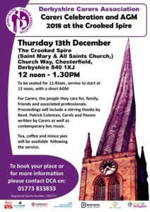 Poster showing spire and listing the event