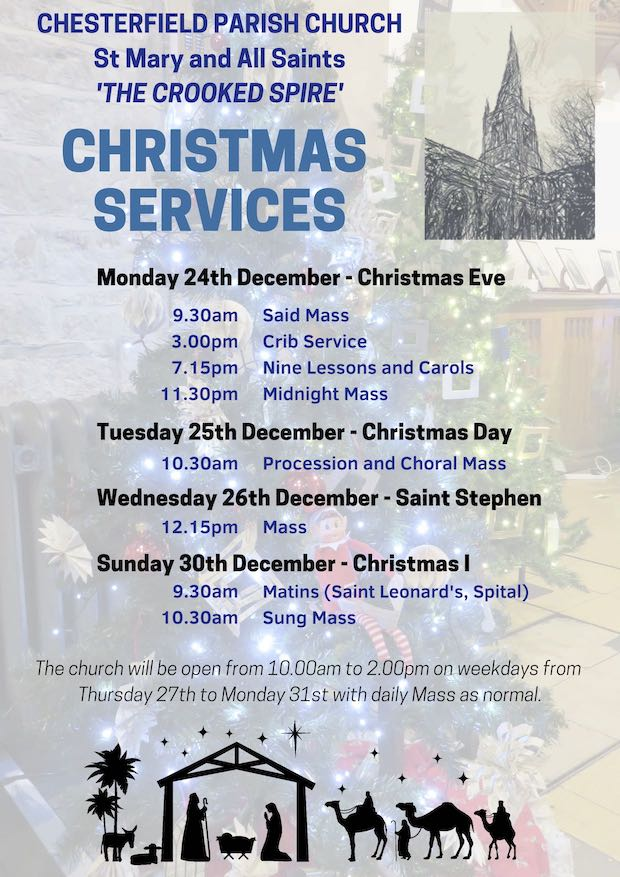 Poster of service dates and times