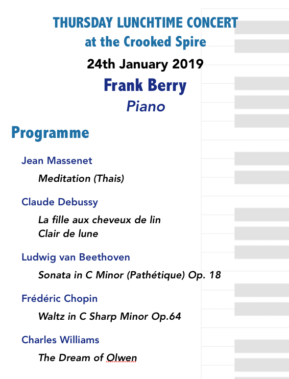 Lunchtime Concert Programme 24th January