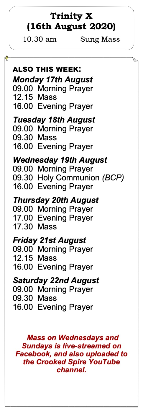 Services for Week 6 of Trinity