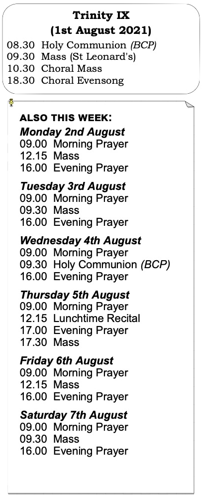 Services for Trinity Week 9