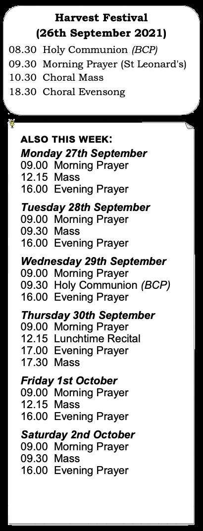 Trinity Week 17 Services