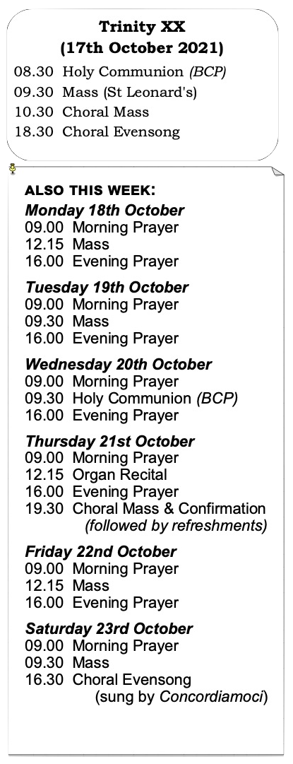 Trinity Week 18 Services